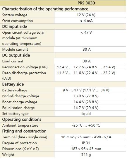 Saules bateriju uzlades kontrolieris Steca Solarix PRS 3030