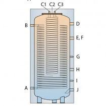 Multifunkcionālais siltuma akumulators savienojumi 180° leņķī