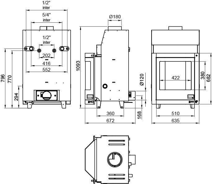 Kamīna kurtuve ar centrālo apkuri aquaflam-17 prismatic, izmēri