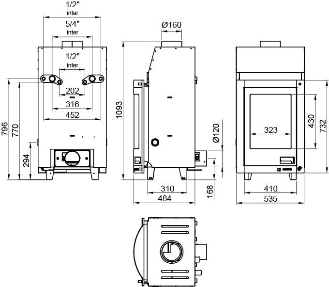 Kamīna kurtuve ar centrālo apkuri aquaflam-7-12 panoramic, izmēri