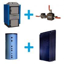 Komplekts ar malkas katlu, siltuma akumulatoru, Laddomat moduli un saules kolektoriem
