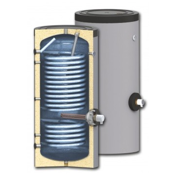 Karsta udens boileris SUNSYSTEM SWP 2N ar diviem siltummainiem (siltumsukniem un saules kolektoriem)