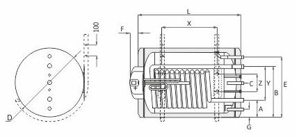 Udens silditaji (boileri) SUNSYSTEM, pie sienas montejami, horizontali SHEMAS