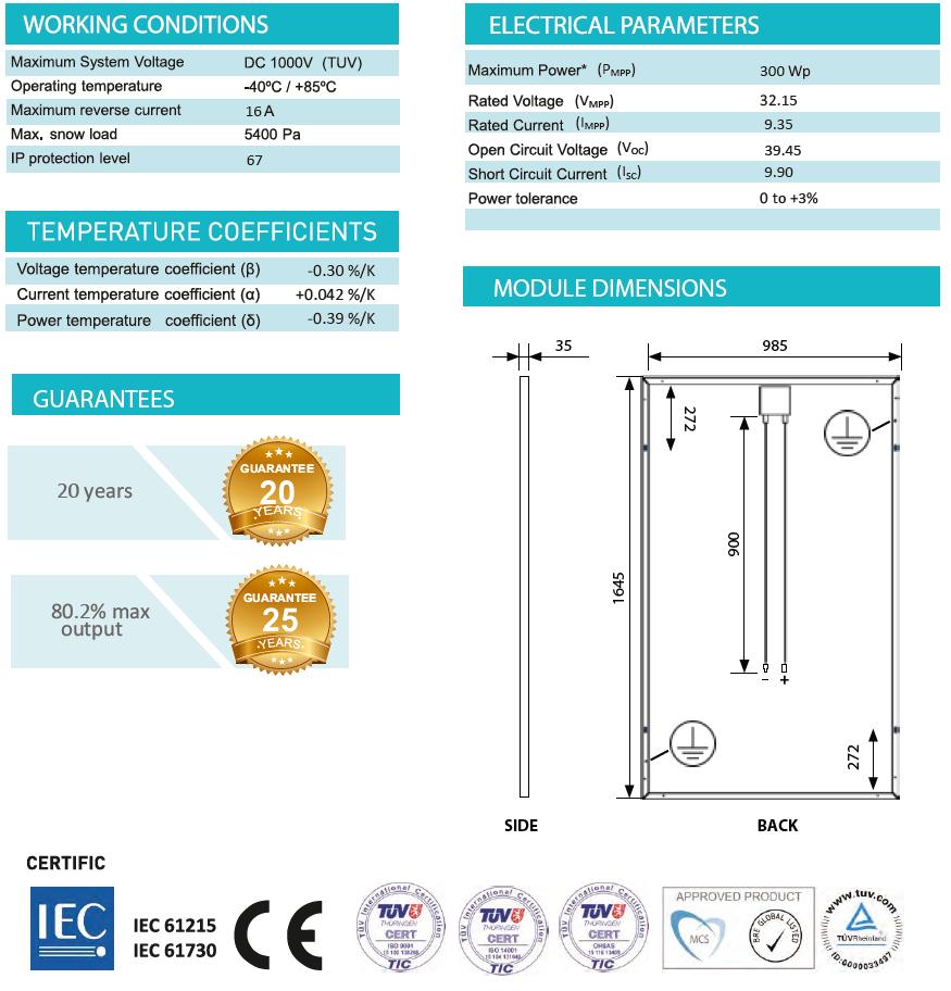 Saules baterijas (monokristāliskās) SoliTek STANDARD 300 Wp SPECIFIKĀCIJA
