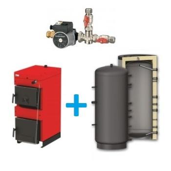 Komplekts ar malkas katlu BURNIT WB 20-30 kW, siltuma akumulācijas tvertni 1000-1500L un LADDOMAT