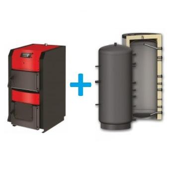 Komplekts ar malkas katlu BURNIT WBS Active 20-30 kW un siltuma akumulācijas tvertni 1000-1500L